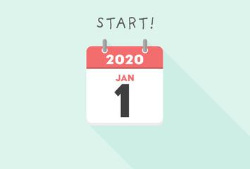 カレンダー・元日・新年・1月・1日イメージ素材:シンプルで見やすい冬の日めくりカレンダー - 1月1日