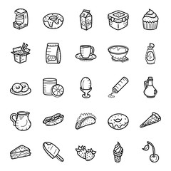 Fast Food and Drinks Hand Drawn Vectors Pack