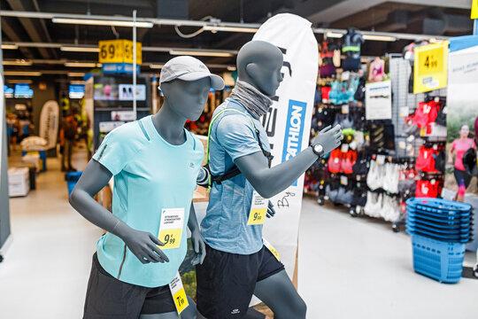 17 MAY 2018, BERLIN, GERMANY: Mannequins in sport shop DECATHLON
