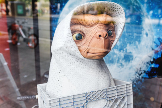 17 MAY 2018, BERLIN, GERMANY: Funny Wax sculpture of the alien creature from E.T. the Extra-Terrestrial movie