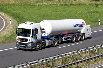 WIEHL, GERMANY - JUNE 29, 2018: Messer truck on motorway. The Messer Group GmbH is a supplier of industrial gases. Business is focused on 30 European and Asian countries.
