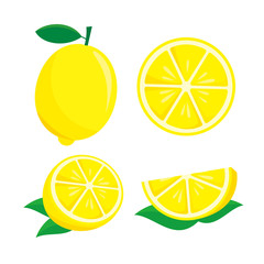Lemon fruit vector illustration isolated on white background. Lemon clip art