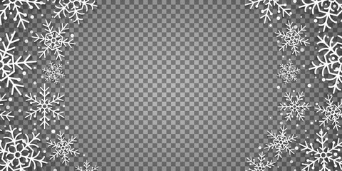Wall Mural - Christmas paper snowflakes isolated on a transparent background. Christmas frame. Template for your design. Vector illustration