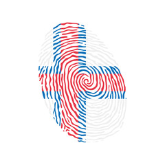 Fingerprint vector colored with the national flag of Faroe Islands