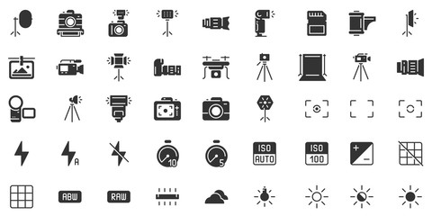 Photo camera silhouette icon. Photography cameras shutter speed, aperture and digital camera exposure black stencil icons vector set