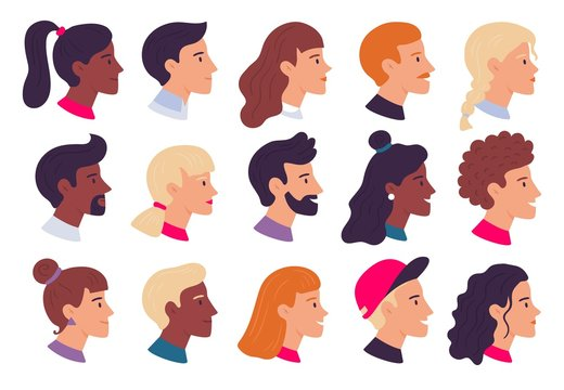 Profile people portraits. Male and female face profiles avatars, side portrait and heads flat vector illustration set