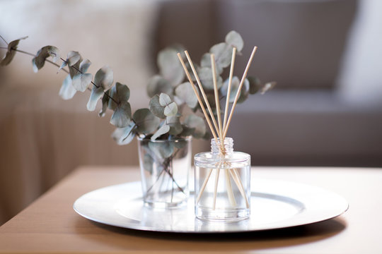decoration, hygge and aromatherapy concept - aroma reed diffuser and branches of eucalyptus populus on table at home