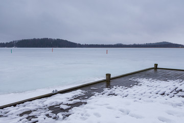 View of the frozen Iso Tilijarvi lake in Hollola, Finland.