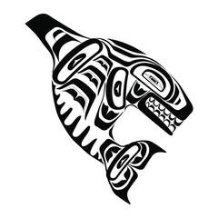Haida killer whale tattoo. Ornament in haida style. Isolated fish on white background. Black monochrome. Vector.