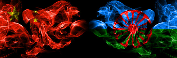 China vs Gipsy, Roman smoke flags placed side by side. Thick colored silky smoke flags of Chinese and Gipsy, Roman
