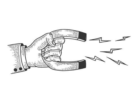 Hand with magnet sketch engraving vector illustration. Tee shirt apparel print design. Scratch board style imitation. Black and white hand drawn image.