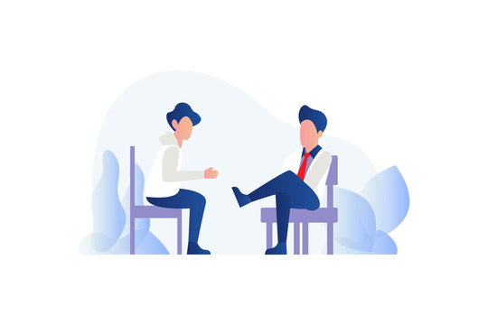 people talk. Counselling or Psychotherapy session concept illustration. Webinar, online training concept vector illustration concept for web landing page template, banner, flyer and presentation