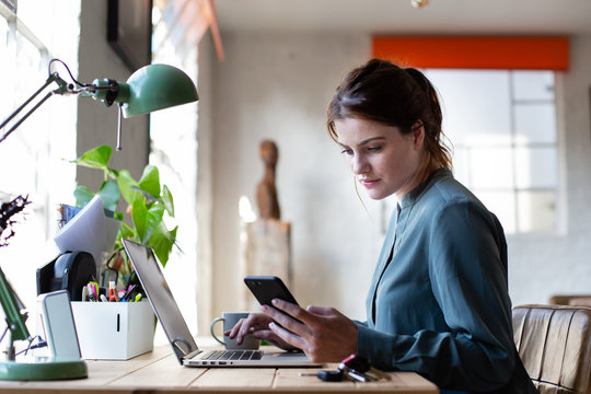 Adult female working from home
