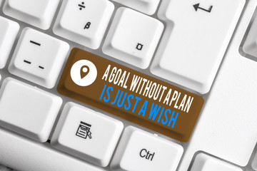 Word writing text A Goal Without A Plan Is Just A Wish. Business photo showcasing Make strategies to reach objectives White pc keyboard with empty note paper above white background key copy space