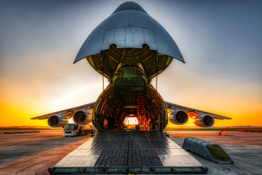 antonov an-124 on the ground with wide open freight room