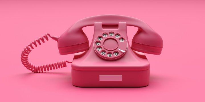 Telephone vintage on pink color background. 3d illustration