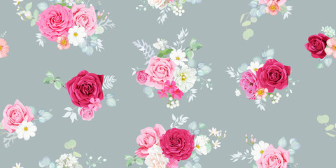Shabby chic seamless pattern with pretty marsala and blush roses, decorated with eucalyptus branches ,pink brier flowers and daisies