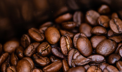 Close up photo of coffee beans with shallow focus.
