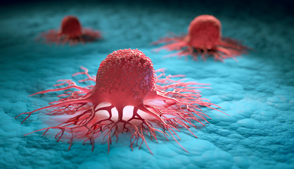 Group of isolated cancer cells - 3d illustration