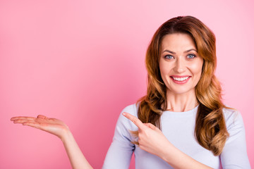 Portrait of pretty cheerful positive promoter hold hand point index finger at copy space demonstrate promotion adverts wear good looking outfit pullover isolated over pastel color background