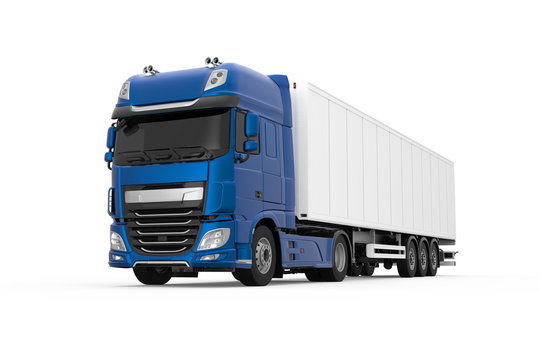 Generic truck with semi trailer photo realistic isolated 3D Illustration - front left low angle view.