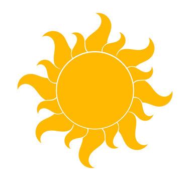 Yellow sun shape symbol.