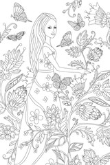 Fototapete - nice girl in fancy flowering garden for your coloring book