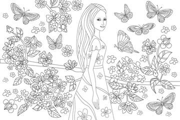 Fototapete - nice girl in blossom garden for your coloring book