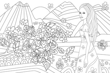 Fototapete - nice girl in mountain landscape for your coloring book