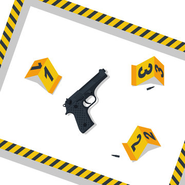 CSI investigation. Crime scene. Collecting evidence. Vector illustration flat design. Isolated on white background. Yellow numbers with markers. Danger tapes. Evidence at the scene of the crime.