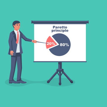 Businessman shows on the board the principle of paretto. Concept 80-20 percent. Business rule twenty eighty. Pie chart economic financial share profit. Vector flat design. Isolated white background.