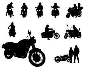 Wall Mural - Set of motor bike and people white background