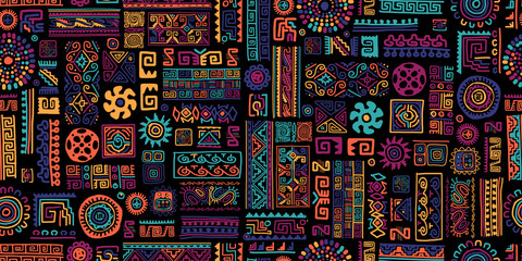 Foto op Canvas Kunstmatig Ethnic handmade ornament, seamless pattern