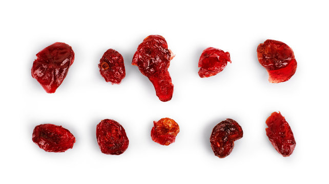 Set of dried cranberries on a white background