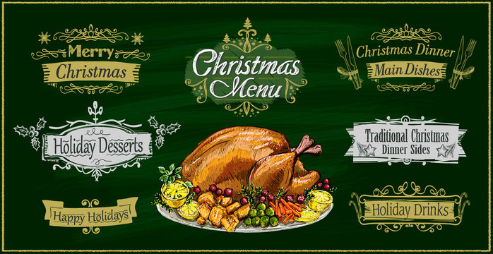 Chalk christmas menu on a green board with traditional roasted turkey and holiday lettering signs set