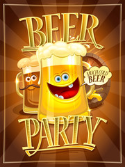 Beer party poster design concept with cartoon beer mugs
