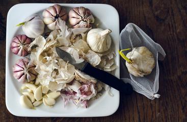 freshly peeled garlic during autumn harvest processing
