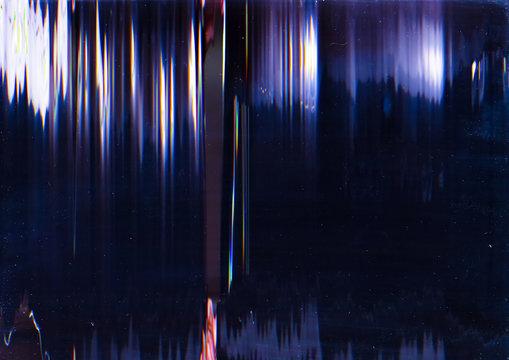 Glitch error. System breakdown. Blue lines pattern static noise.