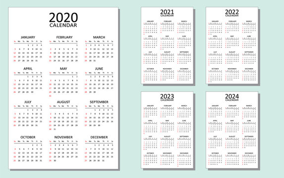 Calendar for 2020, 2021, 2022, 2023 and 2024. A set of 5 calendars with a simple look and layout. Week starts from Sunday. Vector template isolated. Full printable. Clean minimal table.