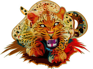 Leopard realistic colorful vector illustration isolated on white background