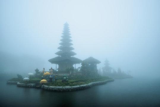 Foggy weather at Pura Ulun Danu Beratan temple in Bali, Indonesia.