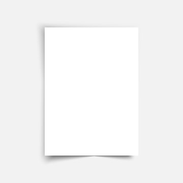 Vector sheet paper A4 format with shadows. White realistic blank paper page with shadow. Mock up design leaflet or banner template