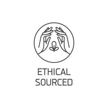Vector logo, badge or icon for natural and organic products. Eco safe sign design. Ethical sourced sign.