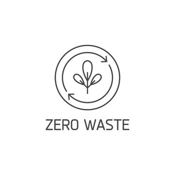 Vector logo, badge or icon for natural and organic products. Eco safe sign design. Zero waste sign.