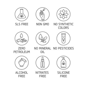 Vector set of logos, badges and icons for natural and organic products. Eco safe sign design. Collection symbol of healthy products.