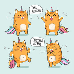 Vector illustration of a cute red cat unicorn or caticorn. I'm a caticorn. Caticorns are real.