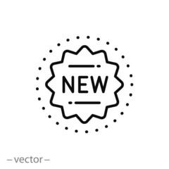 new icon, logo, stamp novelty, star seal, thin line symbol on white background - editable stroke vector illustration eps 10