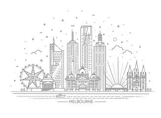 Fototapeta premium Panoramę miasta Melbourne w Australii na białym tle. Ilustracji wektorowych