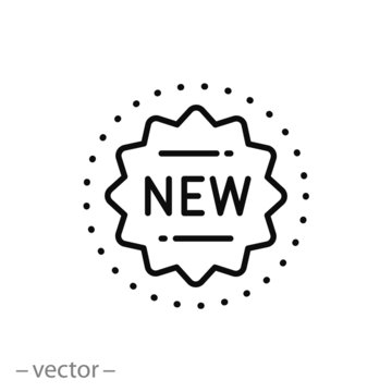 new icon, logo, stamp novelty, star seal, thin line symbol on white background - editable stroke vector illustration eps 10