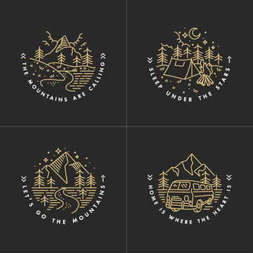 Travel set with emblems. Summer vector illustrations. Design for t-shirt